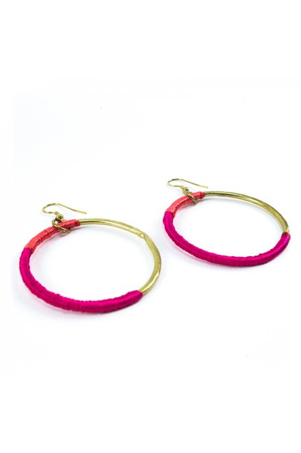 Wrapped Hoop Earrings Pink