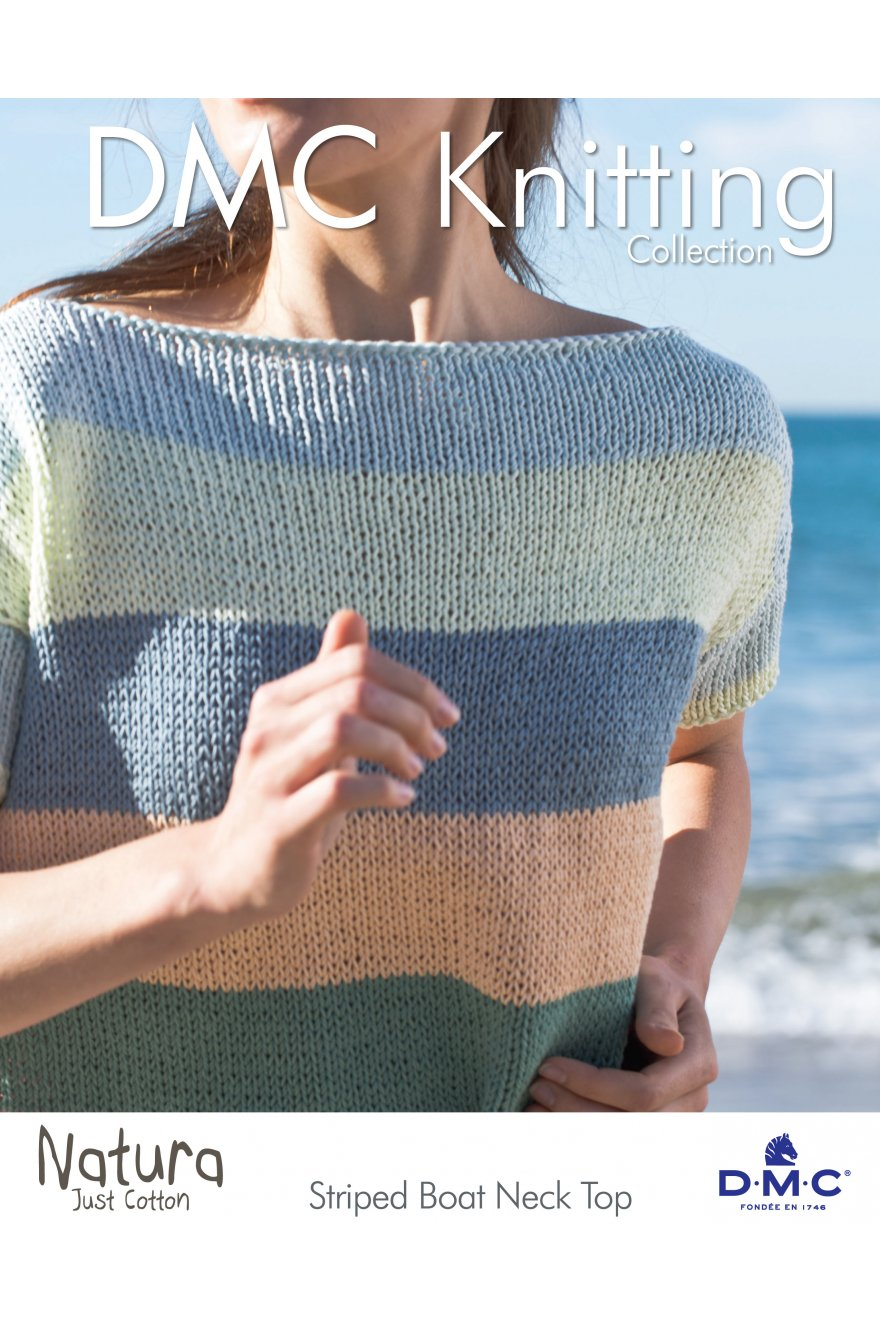 Striped Boat Neck Top - Free Knitting patterns - DMC