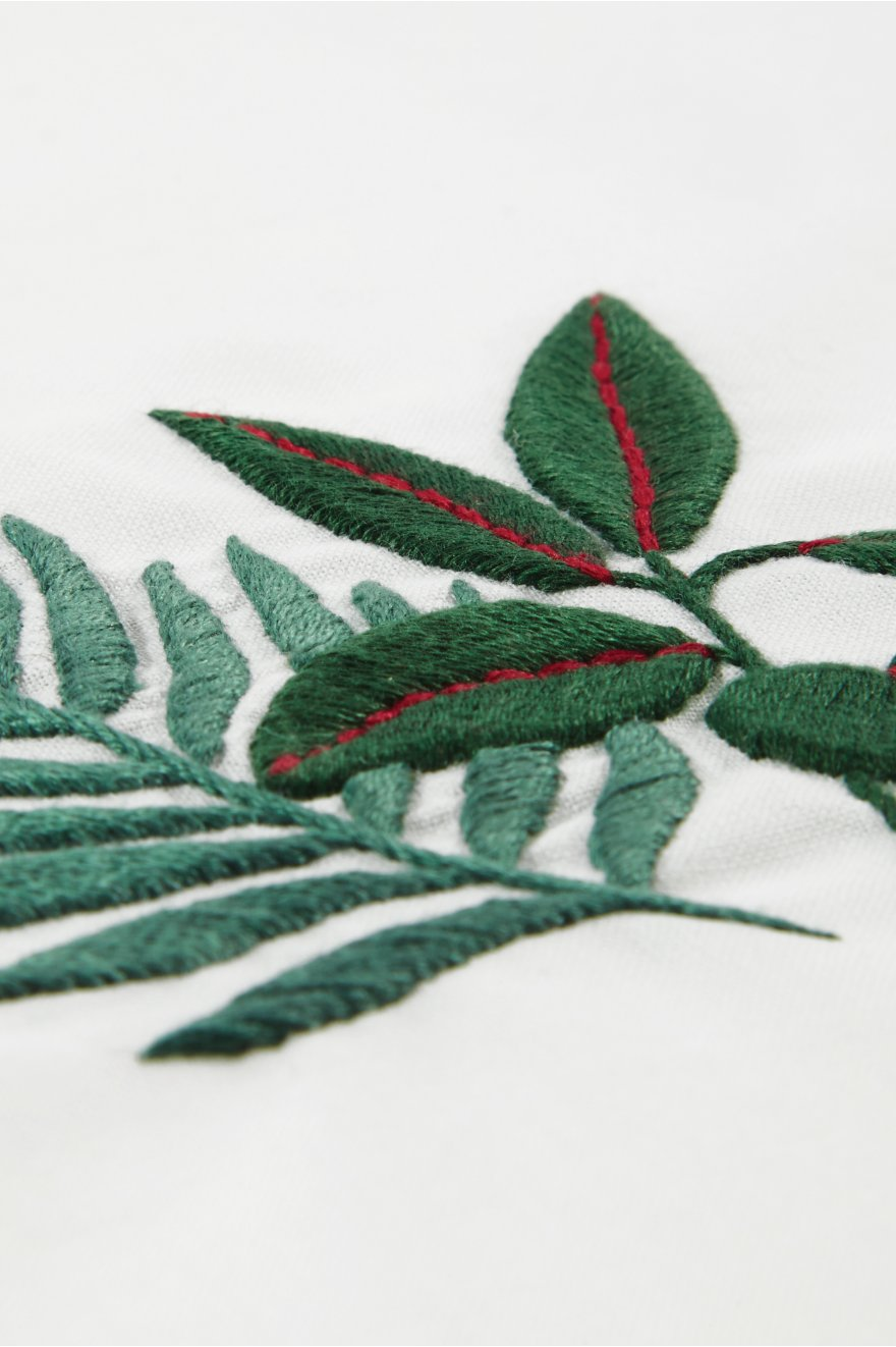 Rubber plant fern embroidery pattern