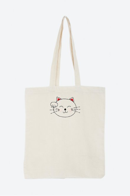 Hello japan chat maneki neko - motif broderie