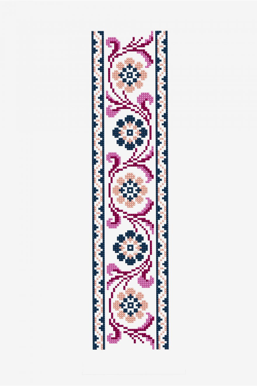 Antique Floral Banner Cross Stitch Pattern