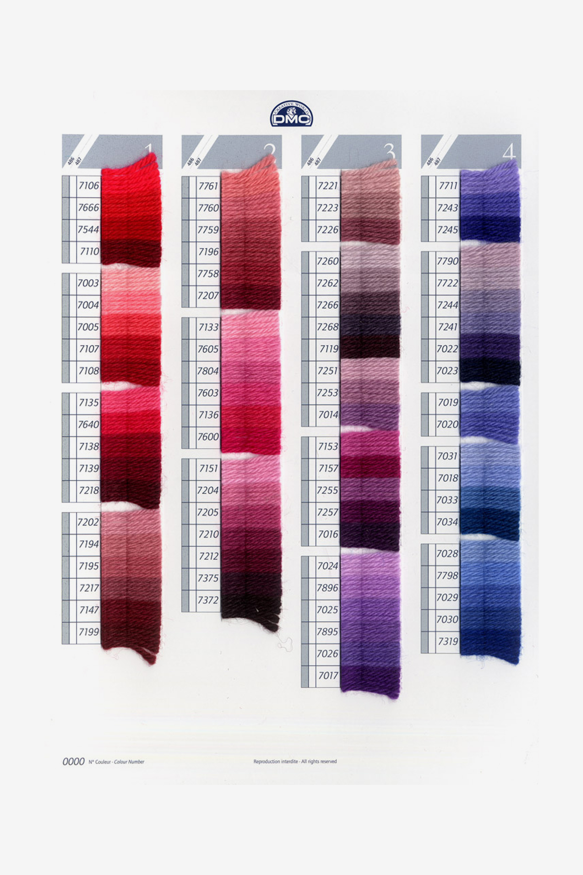 Dmc Tapestry Wool Shade Card Dmc Colour Cards Dmc