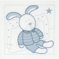 KIT BRODERIE TRADITIONNELLE LAPIN BLEU TB075