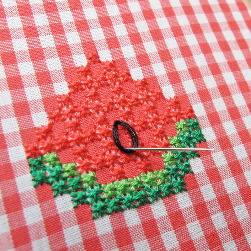 Gingham-Embroidery-Watermelon-14b