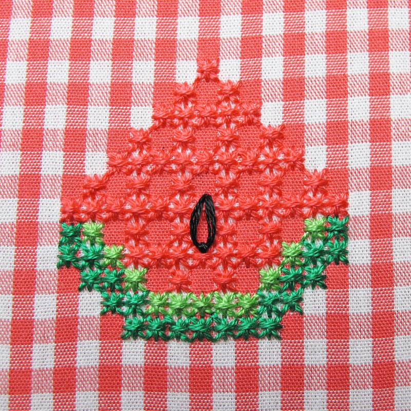 Gingham-Embroidery-Watermelon-14c