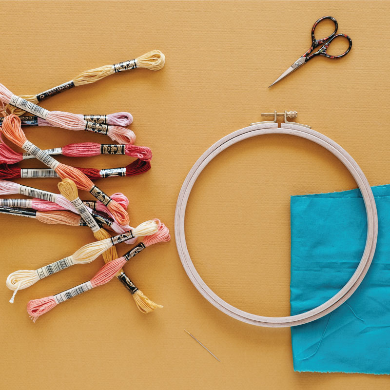 Supplies to make the Embroidered Animal design.