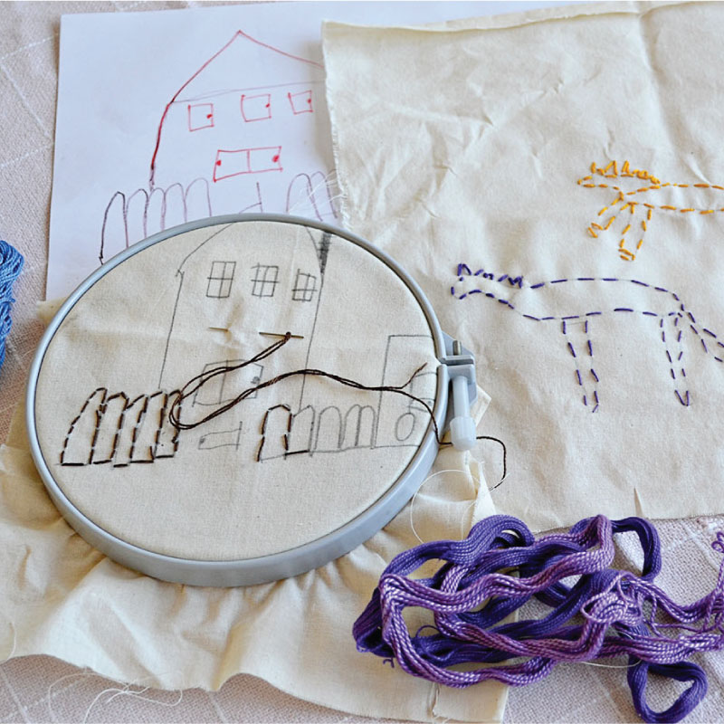 The stitching endeavors of Anne's daughter.