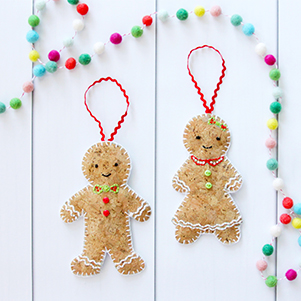 Gingerbread ornament made on stitchable cork material.