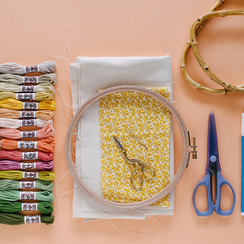 Supplies needed to create this purse with DMC matte cotton thread.