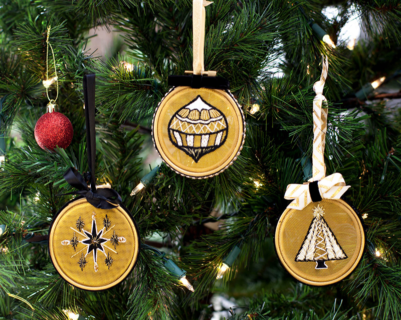 Sarah Milligan's gorgeous DIY Christmas tree ornaments made on stitchable mesh.