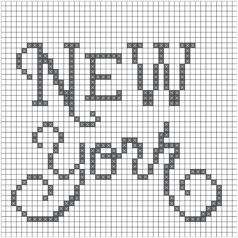 The New York cross stitched baseball hat chart.